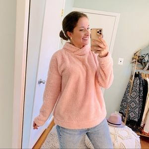 Jane and Bleecker Pink Super Soft Sherpa Pullover